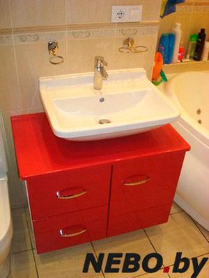Красная мебель для ванной - фото - 5148