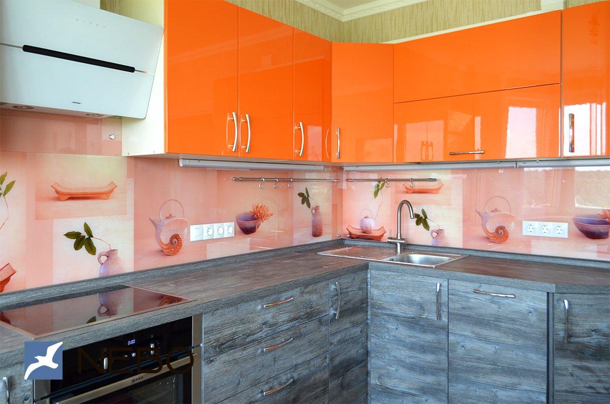 скинали для бело оранжевой кухни цветы фото управляется двумя