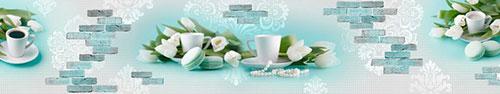 Скинали - Макаруны, кофе и тюльпаны на бирюзовом фоне