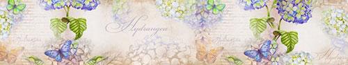 Скинали - Винтажный фон с бабочками и цветами гортензии