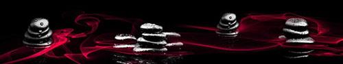 Скинали - Спа камни с каплями воды на фоне с абстрактным дымом