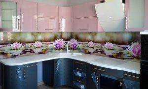 Лотосы для скинали в интерьере кухни - 22788