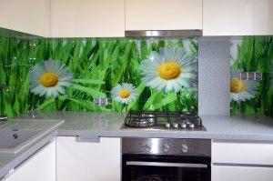 Ромашки для скинали в интерьере кухни - 22816