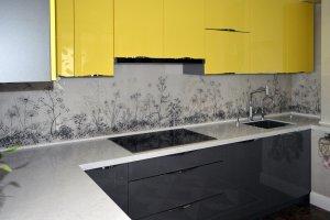 Графические для скинали в интерьере кухни - 22827