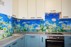 Ромашки для скинали в интерьере кухни - 23042