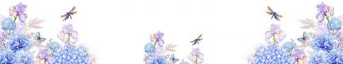 Скинали - Нежные акварельные цветы и стрекозы