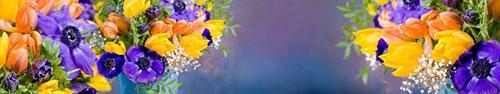 Скинали - Букет тюльпанов с анемонами на ярком фоне