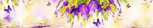 Скинали - Жизнерадостные крокусы и летающие над ними бабочки
