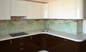 Кирпич для скинали в интерьере кухни - 23473