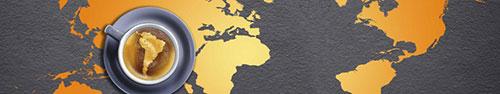 Скинали - Чашка кофе на фоне карты Мира
