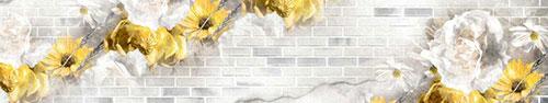 Скинали - Цветы акварелью на кирпичном фоне