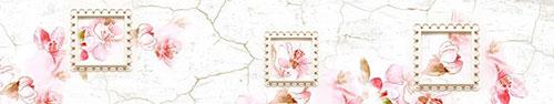 Скинали - Рисунок цветущего миндаля на фоне стены с трещинами