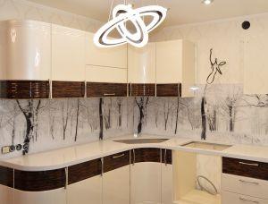 Снег для скинали в интерьере кухни - 29724