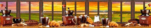 Скинали - Свежий кофе и круассаны на столе с видом на закат
