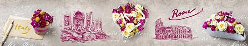 Скинали - Винтажный фон с нежными композициями цветов, Рим