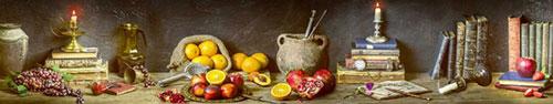 Скинали - Натюрморт со свежими фруктами и старинными предметами