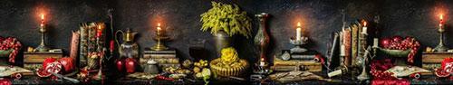 Скинали - Натюрморт с книгами, зажженными свечами и фруктами