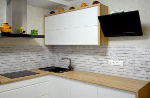 Кирпич для скинали в интерьере кухни - 30653