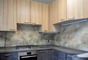 Мрамор для скинали в интерьере кухни - 31068