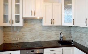 Кирпич для скинали в интерьере кухни - 31070