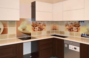 Вишня, яблоня для скинали в интерьере кухни - 31181
