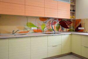 Цветочные для скинали в интерьере кухни - 31236