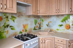 Кирпич для скинали в интерьере кухни - 31239