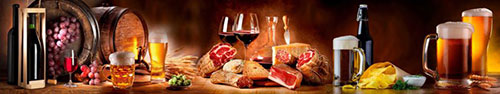 Скинали - Вино, пиво и закуски на столе