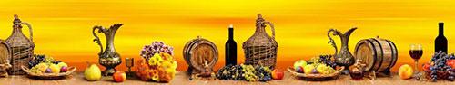 Скинали - Фрукты и вино на столе на оранжевом фоне