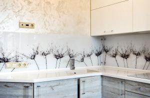 Одуванчики для скинали в интерьере кухни - 31666