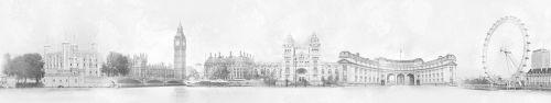 Скинали - Достопримечательности Лондона на состаренном фоне в сепии