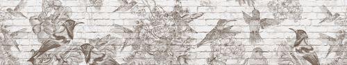 Скинали - Векторные рисунки цветов и птиц на кирпичном фоне
