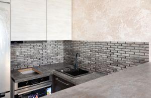 Кирпич для скинали в интерьере кухни - 32487