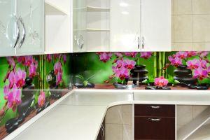 Орхидеи для скинали в интерьере кухни - 32648