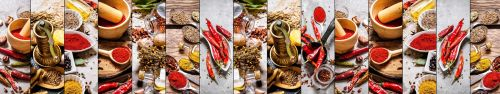 Скинали - Коллаж изображений со специями и перцем чили