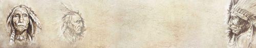 Скинали - Иллюстрации индейцев на состаренном фоне