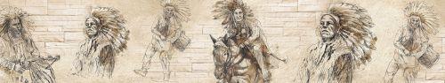 Скинали - Рисунки индейцев на бежевом фоне