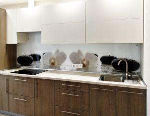 Орхидеи для скинали в интерьере кухни - 33359