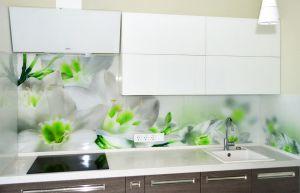 Цветы для скинали в интерьере кухни - 33575