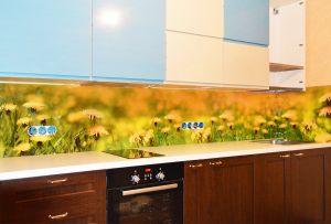 Одуванчики для скинали в интерьере кухни - 33577