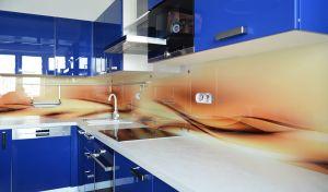 Волны для скинали в интерьере кухни - 34019