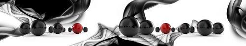 Скинали - Блестящие черные шары на абстрактном фоне