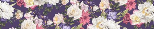 Скинали - Акварельные цветы на фиолетовом фоне