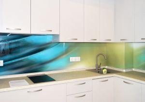 Линии, полосы для скинали в интерьере кухни - 34222