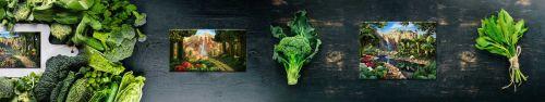 Скинали - Картины из продуктов на фоне зелени и овощей