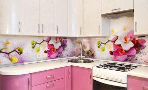 Цветы для скинали в интерьере кухни - 34801