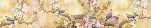 Скинали - Рисунок птичек на ветках цветущих деревьев