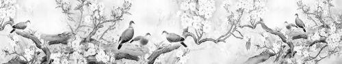 Скинали - Черно-белый рисунок птичек на ветках цветущих деревьев