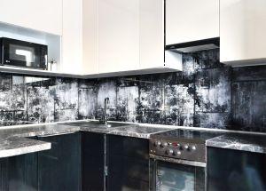 Металл для скинали в интерьере кухни - 35428