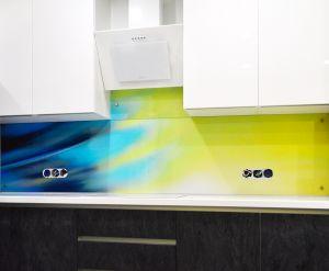 Линии, полосы для скинали в интерьере кухни - 35429